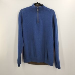 Tommy Bahama Pullover Half Zip Sweater Blue Cotton